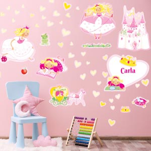 Personalised  Princesses and castle wall stickers