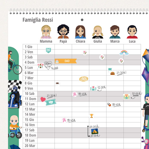 Calendario planner familiare da parete con Twinie