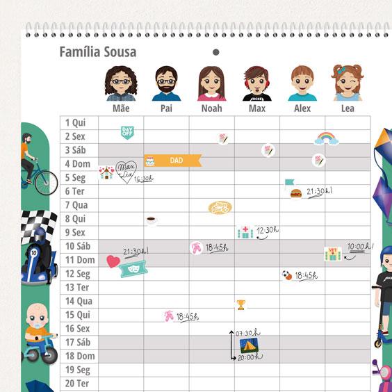 Calendário planificador familiar de parede com Twinies