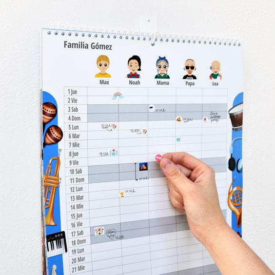 Calendario planificador familiar de pared con Twinies