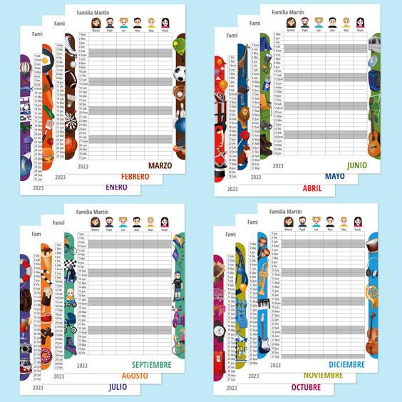 Calendario planificador familiar de pared con Twinies (12 meses)
