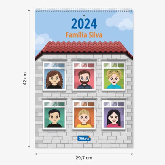 Calendário planificador familiar de parede com Twinies (12 meses)