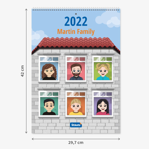 Twinie Family Wall Planner Calendar (12 months)