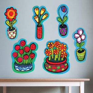 Flowers in pots wall stickers