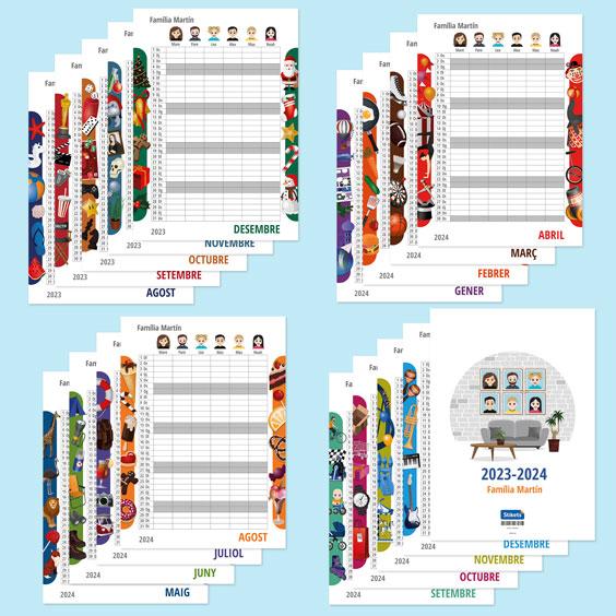 Calendari planificador familiar de paret amb Twinies (17 mesos)