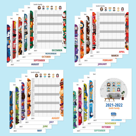 Twinie Family Wall Planner Calendar (17 months)