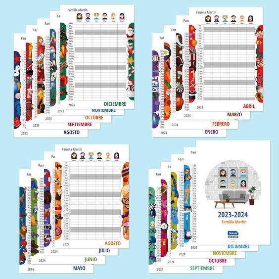 Calendario planificador familiar de pared con Twinies (17 meses)