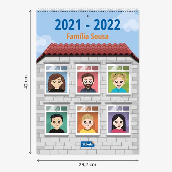 Calendário planificador familiar de parede com Twinies (17 meses)