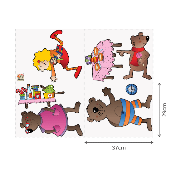 Goldilocks and the 3 Bears Wall Decal