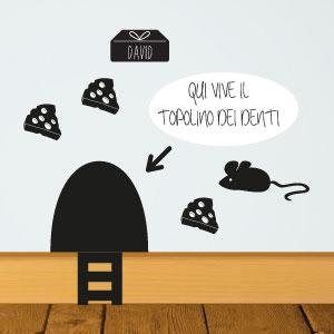 Adesivo murale Tana del topolino dei denti con nome
