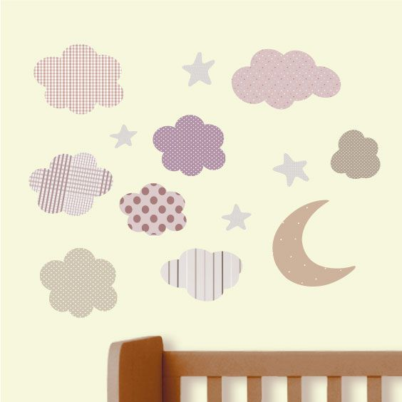Moon, Clouds and Star Wall Decals 3
