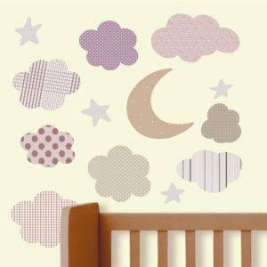 Moon, stars and clouds wall stickers 3