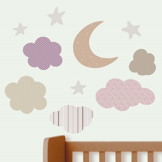 Moon, Clouds and Star Wall Decals 2