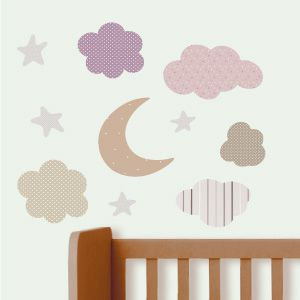 Moon, stars and clouds wall stickers 2