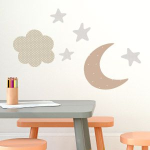 Moon, stars and clouds wall stickers