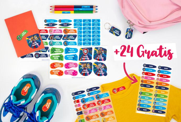 24 Bügeletiketten zu Ihrem Pack geschenkt