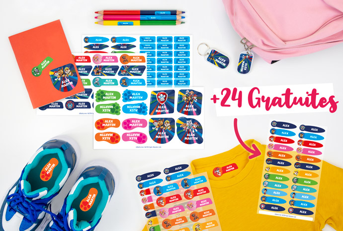 24 étiquettes thermocollantes extra pour l'achat de tout pack d'étiquettes personnalisées