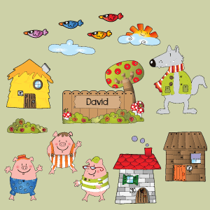 Personalizable 3 Little Pigs Wall Decal