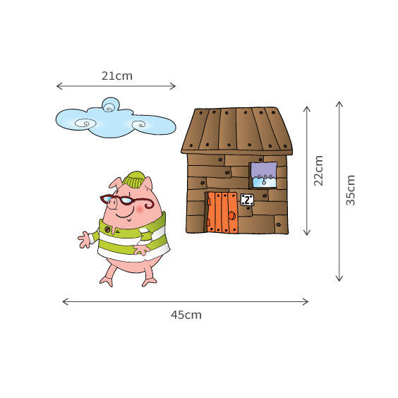 Little Pig Wooden House Wall Decal