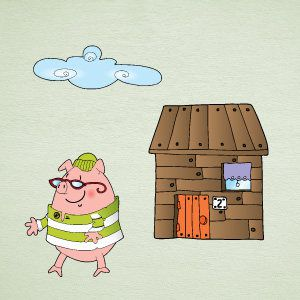 Little pig wooden house wall stickers
