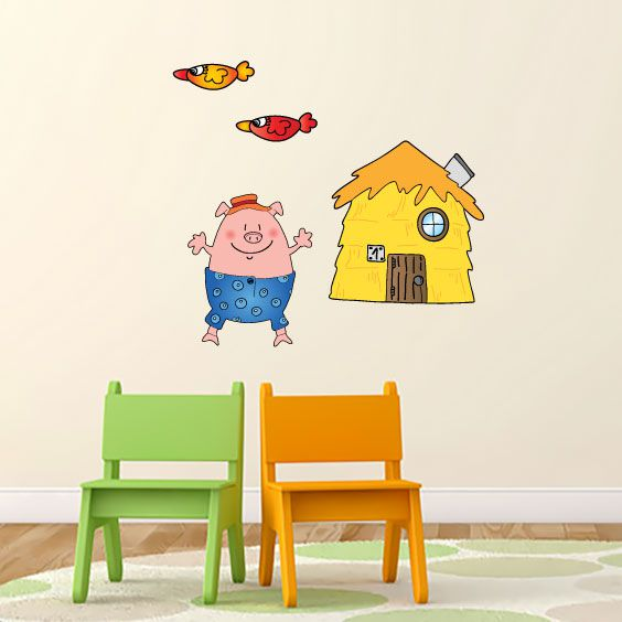 Little Pig Thatched House Wall Decal