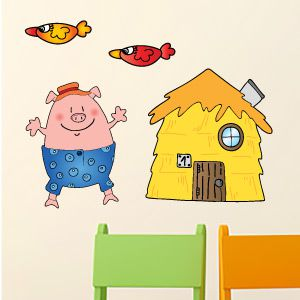 Little pig straw house wall stickers