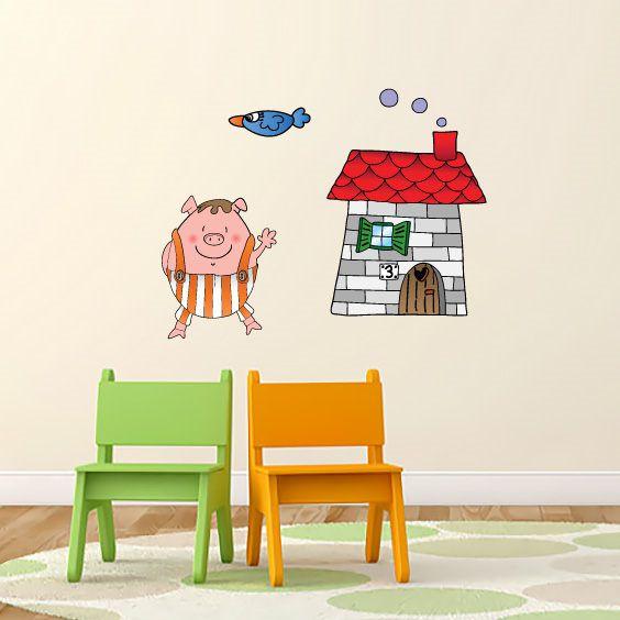 Adesivo Porcellino casa di mattoni