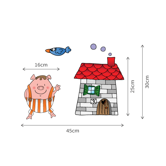 Little Pig Brick House Wall Decal