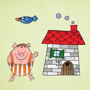 Little pig brick house wall stickers
