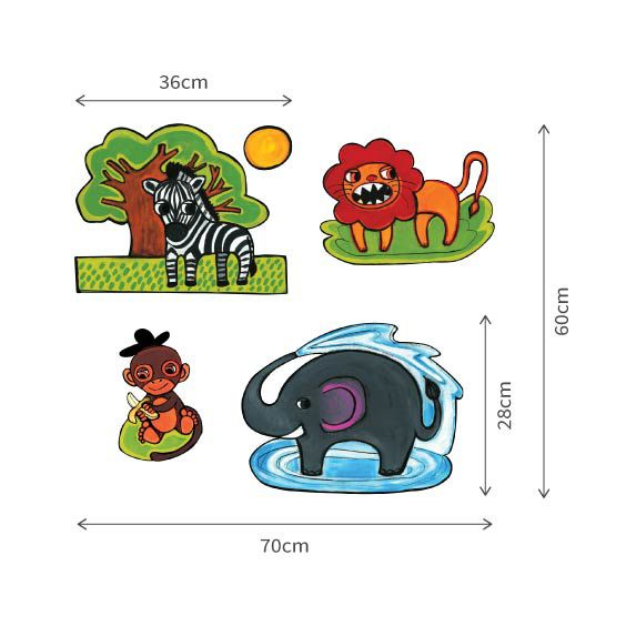 Lion, Monkey, Giraffe and Elefant