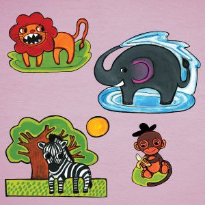 Lion, monkey, zebra and elephant wall stickers