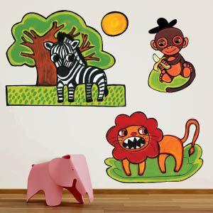 Stickers lion, singe, zèbre