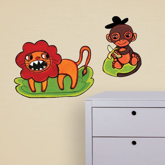 Lion and Monkey Wall Decal