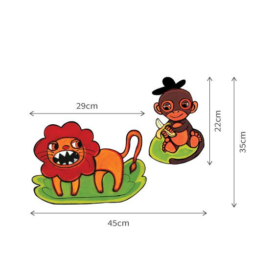Stickers lion et singe