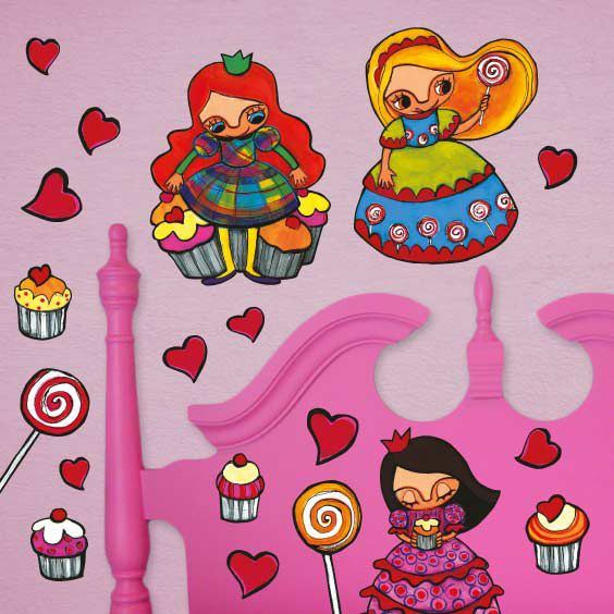 Stickers princesses aux cupcakes