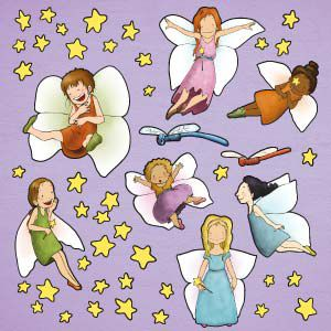 Fairy girls wall stickers