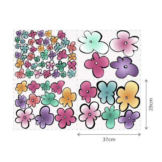 Colored Flowers Wall Decal