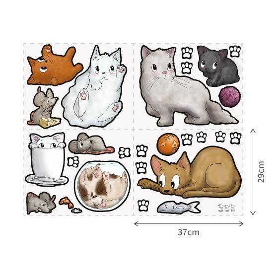 Vinilo de gatitos y huellas