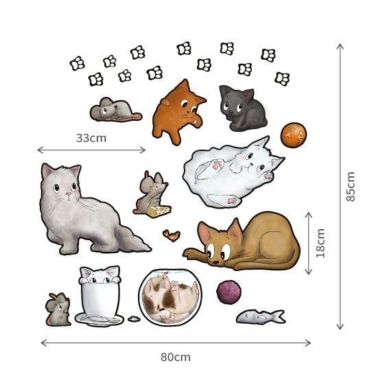 Cat Collection Wall Decal