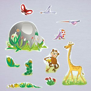 Jungle animals wall stickers 2