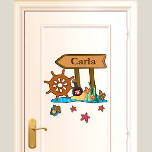 Personalised pirate wall stickers