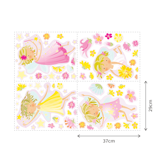 Fairies, Flowers and Stars Wall Decals