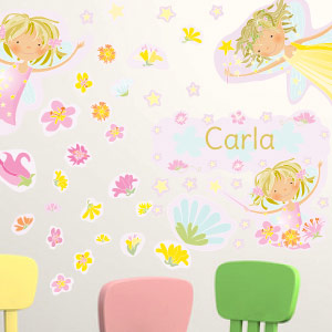 Personalised Fairies, flowers and stars wall stickers