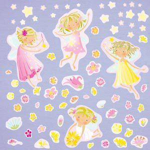 Fairies, flowers and stars wall stickers