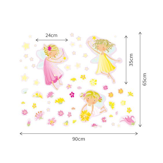 Fairies, Flowers and Stars Wall Decal