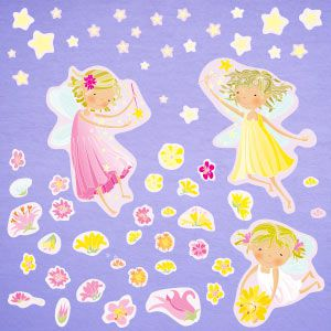 Fairies, flowers and stars wall stickers 3