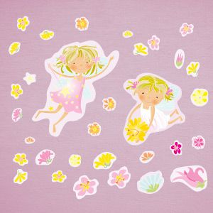 Fairies with flowers wall stickers