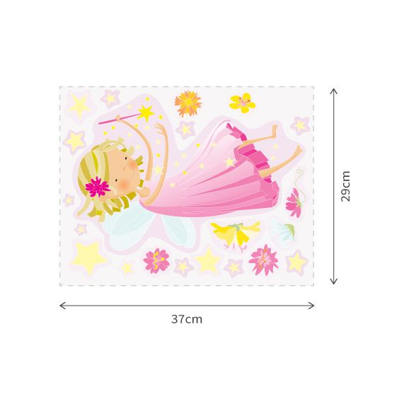 Pink Fairy and Stars Wall Decals