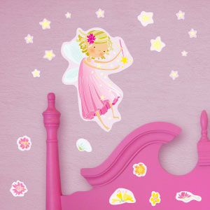 Pink fairy with stars wall stickers