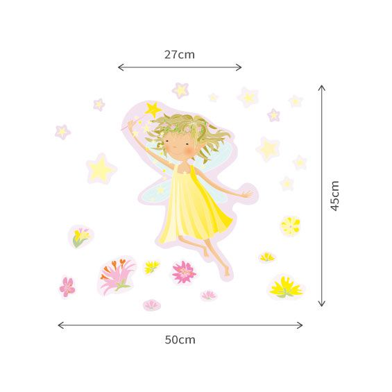 Yellow Fairy and Stars Wall Decals